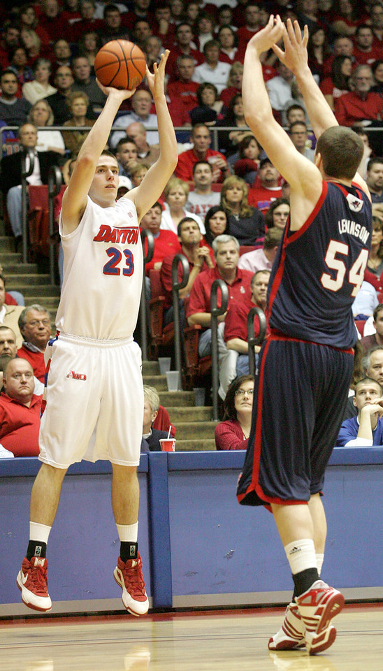 E.L. Hubbard for the DDN<br /> UD forward Luke Fabrizius knocks down a trey over Duquesne forward/center Oliver Lewinson in the first half at UD Arena Saturday, March 7, 2009. Fabrizius was 5 of 6 from behind the arc in the first half.