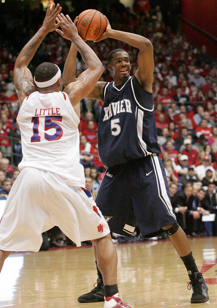 E.L. Hubbard for the DDN<br /> Xavier forward Derrick Brown, a CJ grad, in action at UD Arena Wednesday, February 11, 2009.