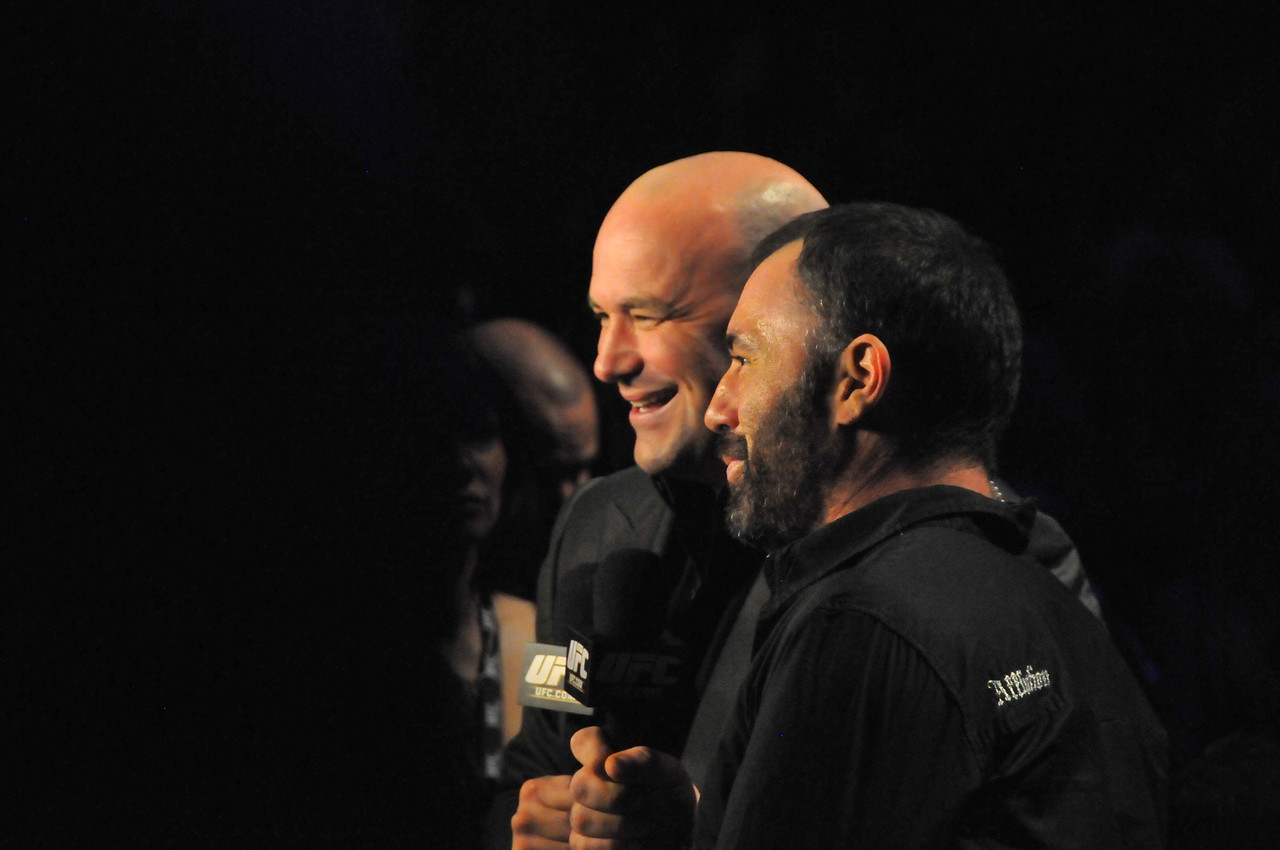 Dana White and Joe Rogan promoting the PPV event on Spike TV, March 2011