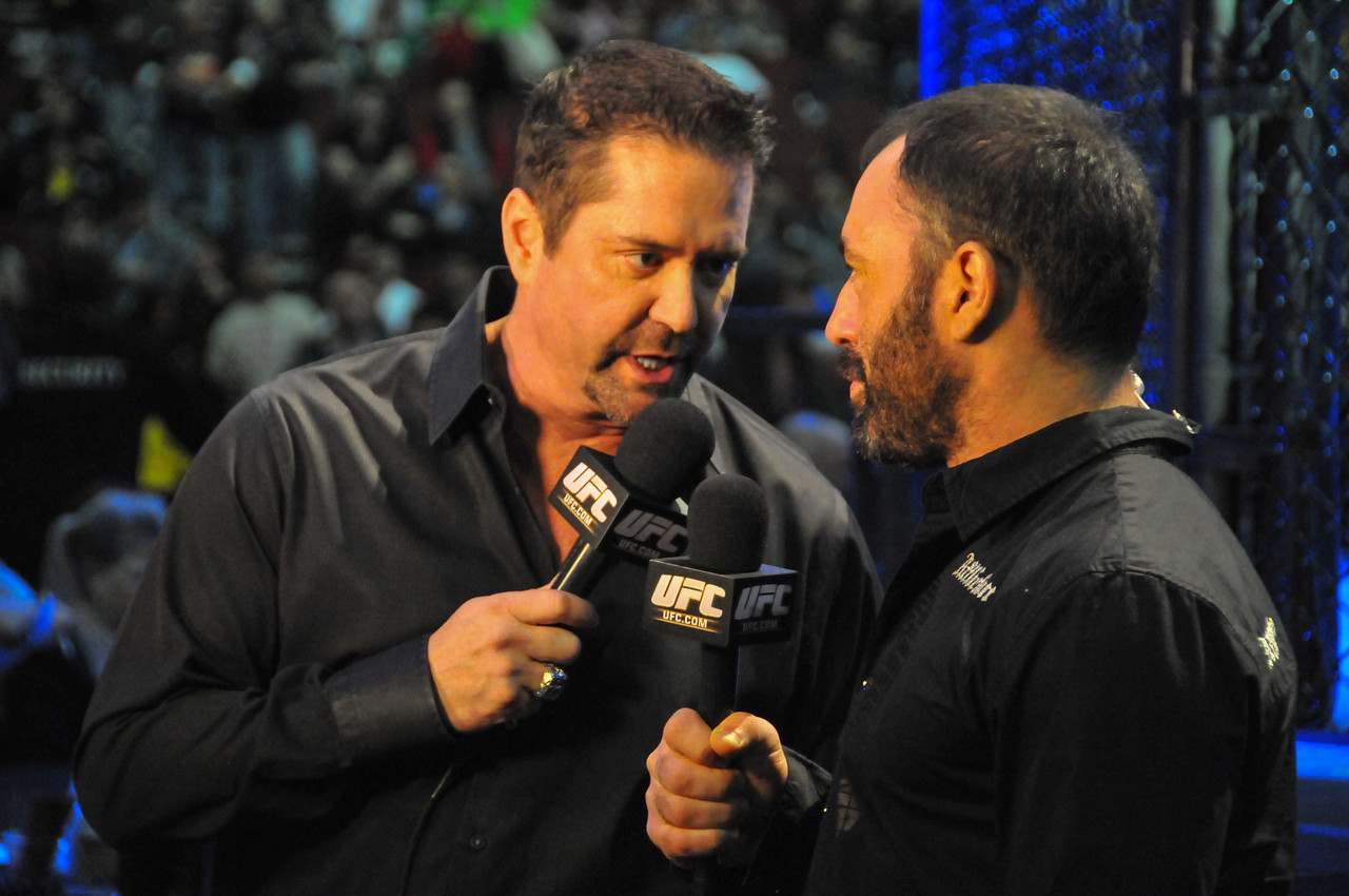 Mike Goldberg and Joe Rogan at Prudential Center, UFC 128 - March 2011