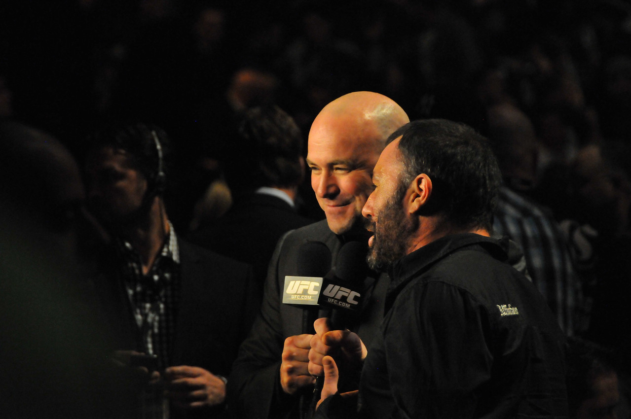 Dana White and Joe Rogan promoting the PPV event on Spike TV, Prudential Center - March 2011