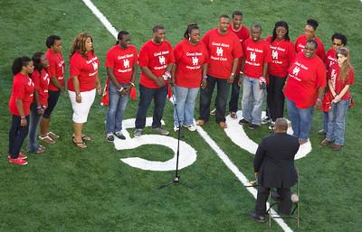 """The Good News Gospel Choir sings """"God Bless America""""."""