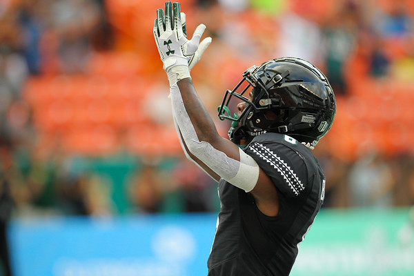 Hawaii receiver Cedric Byrd II celebrates his 25 yard touchdown reception in the second quarter against Arizona at Aloha Stadium on August 24, 2019, in Honolulu, Hawaii.