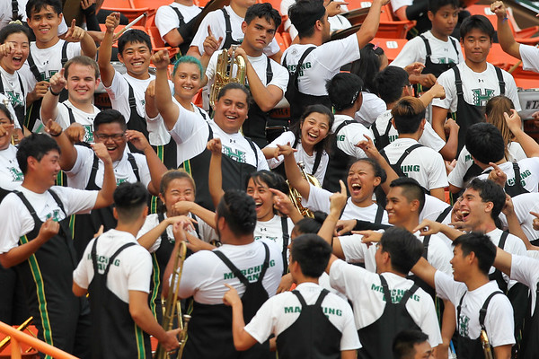 The University of Hawaii marching band has some fun during a break in action at Aloha Stadium on August 24, 2019, in Honolulu, Hawaii.