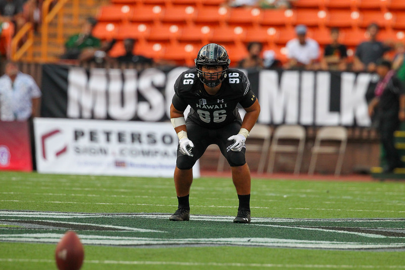 Hawaii's Kaimana Padello awaits the Arizona kickoff at Aloha Stadium on August 24, 2019, in Honolulu, Hawaii.