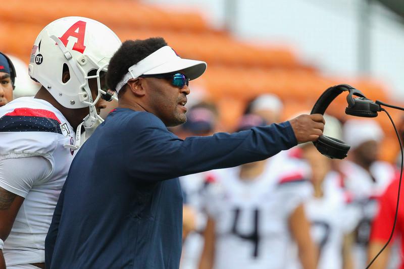 Arizona head coach Kevin Sumlin instructs his team during a football game against the Hawaii Rainbow Warriors at Aloha Stadium on August 24, 2019, in Honolulu, Hawaii.