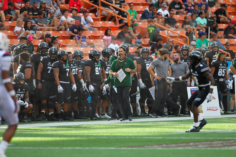 Hawaii head coach Nick Rolovich looks on as his team competes against the Arizona at Aloha Stadium on August 24, 2019, in Honolulu, Hawaii.