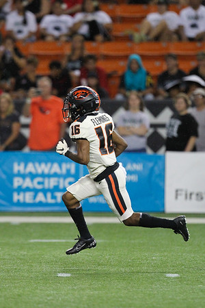 Oregon State receiver Champ Flemings returns the Hawaii kickoff 21 yards at Aloha Stadium on September 7, 2019, in Honolulu, Hawaii.