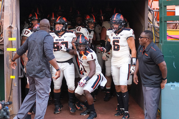 The Oregon State Beavers prepare to run out of their tunnel before their game against the Hawaii Rainbow Warriors at Aloha Stadium on September 7, 2019, in Honolulu, Hawaii.