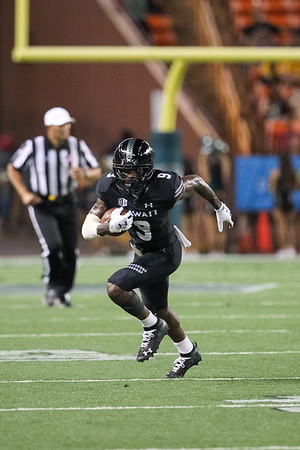 Hawaii receiver JoJo Ward gains yards after the catch against Oregon State at Aloha Stadium on September 7, 2019, in Honolulu, Hawaii.
