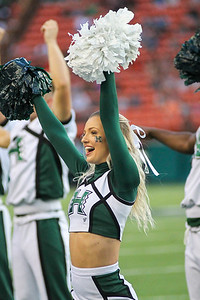 A Hawaii cheerleader performs during the football game against Oregon State at Aloha Stadium on September 7, 2019, in Honolulu, Hawaii.