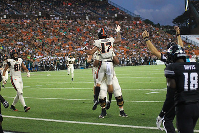 Oregon State wide receiver Isaiah Hodgins celebrates his 13 yard touchdown reception against Hawaii in the second quarter at Aloha Stadium on September 7, 2019, in Honolulu, Hawaii. Hodgins' catch extended Oregon State's lead to 21-7.