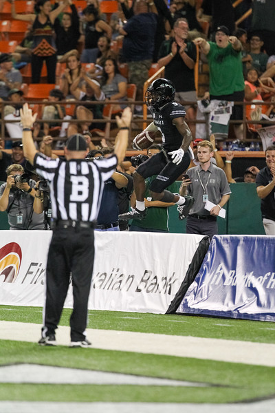 Hawaii receiver JoJo Ward celebrates after his third touchdown reception against Oregon State at Aloha Stadium on September 7, 2019, in Honolulu, Hawaii.