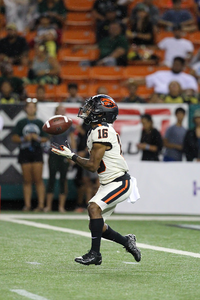 Oregon State receiver Champ Flemings returns the Hawaii kickoff at Aloha Stadium on September 7, 2019, in Honolulu, Hawaii.