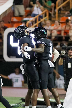 Hawaii wide receiver Jojo Ward (9) celebrates his second touchdown reception of the game against Oregon State at Aloha Stadium on September 7, 2019, in Honolulu, Hawaii. Ward's 35 yard catch closed Oregon State's lead to 21-14.