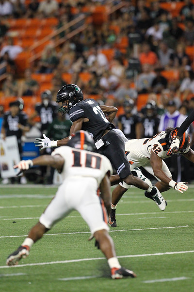 Hawaii receiver Jared Smart makes a catch against Oregon State at Aloha Stadium on September 7, 2019, in Honolulu, Hawaii.