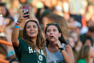 Hawaii students take a selfie during the football game against Oregon State at Aloha Stadium on September 7, 2019, in Honolulu, Hawaii.