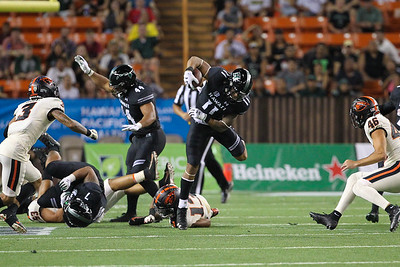 Hawaii's Justice Augafa returns the Oregon State kickoff 22 yards at Aloha Stadium on September 7, 2019, in Honolulu, Hawaii.