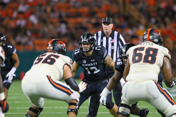Hawaii linebacker Kana'i Picanco stares down the Oregon State offense at Aloha Stadium on September 7, 2019, in Honolulu, Hawaii.