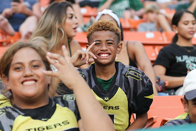 Metro Tigers players smile for the camera during the Hawaii-Oregon State football game at Aloha Stadium on September 7, 2019, in Honolulu, Hawaii.