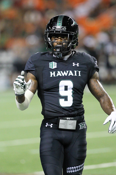 Hawaii receiver JoJo Ward checks the Oregon State coverage at Aloha Stadium on September 7, 2019, in Honolulu, Hawaii.