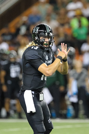 Hawaii quarterback Cole McDonald makes pre-snap reads against Oregon State at Aloha Stadium on September 7, 2019, in Honolulu, Hawaii.