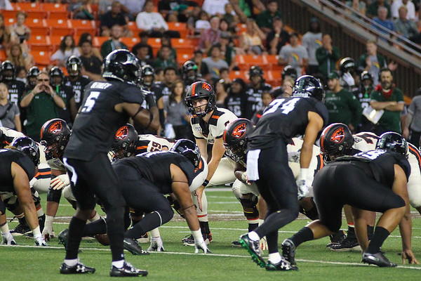 Oregon State quarterback Jake Luton reads the Hawaii defense before the snap at Aloha Stadium on September 7, 2019, in Honolulu, Hawaii.