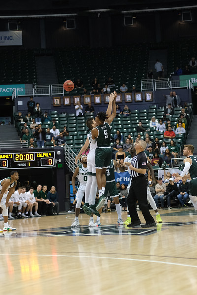 Cal Poly and Hawaii tip off Big West conference play at the Stan Sheriff Center, Honolulu, Hawaii on January 16, 2020.