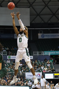 Keith Smith (0) shows off his unorthodox form on this jumper at the Stan Sheriff Center, Honolulu, Hawaii on January 16, 2020. Smith was 2-4 from the field for 4 points.