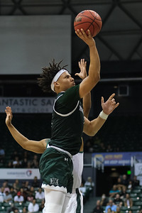 Drew Buggs shoots a floater at the Stan Sheriff Center, Honolulu, Hawaii on January 16, 2020. Buggs chipped in 4 points in Hawaii's victory over Cal Poly.