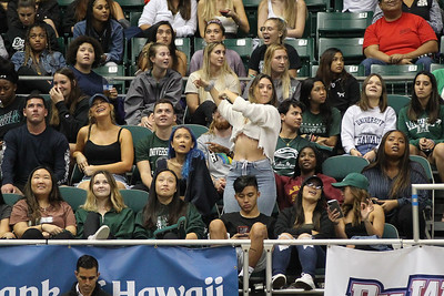 Hawaii fans watch the big screen during a time out at the Stan Sheriff Center, Honolulu, Hawaii on January 16, 2020.