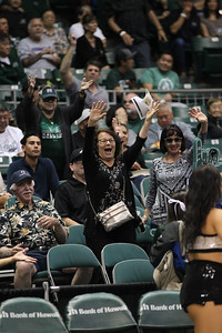 Hawaii fans clamor for free t-shirts at the Stan Sheriff Center, Honolulu, Hawaii on January 16, 2020.