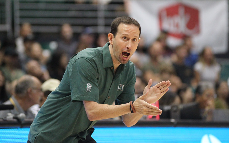 Hawaii head coach Eran Ganot exhorts his team against Maine at the Stan Sheriff Center, Honolulu, Hawaii on December 29, 2019.