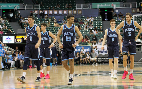 The Maine Black Bears take the court in the second half Hawaii volleyball player Colton Cowell against Hawaii at the Stan Sheriff Center, Honolulu, Hawaii on December 29, 2019.