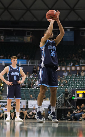 Maine's Sergio El Darwich shoots a free throw in the first half against Hawaii at the Stan Sheriff Center, Honolulu, Hawaii on December 29, 2019.