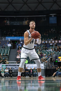 Zigmars Raimo at the line for Hawaii against UCSB at the Stan Sheriff Center, Honolulu, Hawaii on January 18, 2020. Raimo went 1-4 from the line.