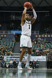 Eddie Stansberry at the line at the Stan Sheriff Center, Honolulu, Hawaii on January 18, 2020. Eddie would go perfect from the charity stripe.