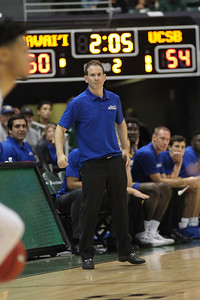 Santa Barbara head coach Joe Pasternack is laser-focused at the Stan Sheriff Center, Honolulu, Hawaii on January 18, 2020. Pasternack is infamous for kicking Cal's Jorge Gutierrez as Gutierrez fell out of bounds when Pasternack was an assistant with Arizona in 2012.