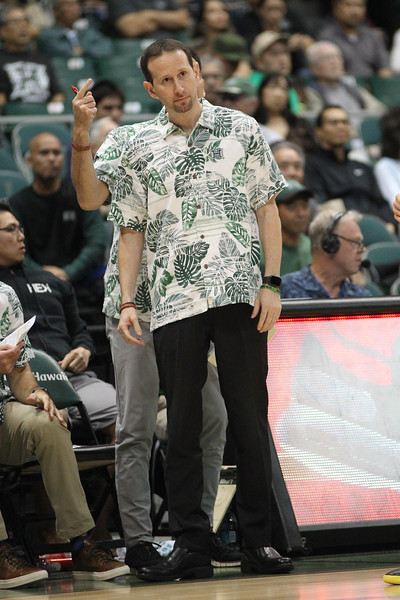 Hawaii head coach Eran Ganot looks dismayed during a game against UCSB at the Stan Sheriff Center, Honolulu, Hawaii on January 18, 2020. Hawaii won, 70-63.