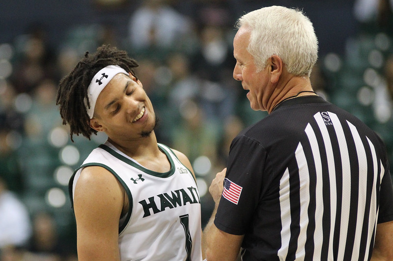 Drew Buggs gets an explanation from the ref at the Stan Sheriff Center, Honolulu, Hawaii on January 18, 2020.