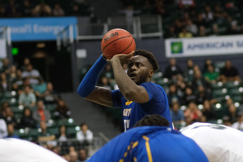 UCSB's Robinson Idehen shoots a free throw against Hawaii at the Stan Sheriff Center, Honolulu, Hawaii on January 18, 2020. Idehen was 4-6 from the line.