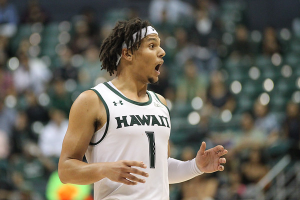 Drew Buggs cannot believe the ref is serious at the Stan Sheriff Center, Honolulu, Hawaii on January 18, 2020.
