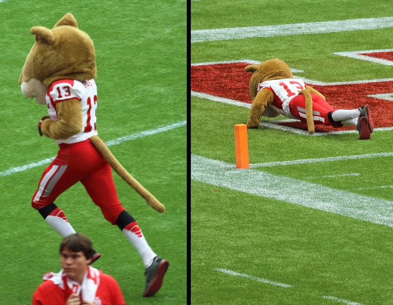 Shasta Jogs off to the end zone to do his celebratory pushups.