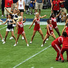 Here the UH and Rice cheerleaders do a cooperative display.