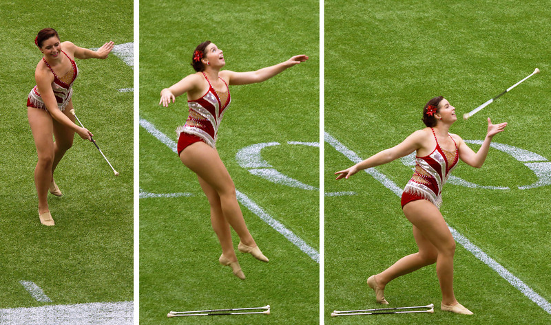 ... while the twirler, twirls her baton.