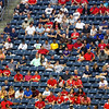 The Rice fans, empty seats, and a great deal of red.