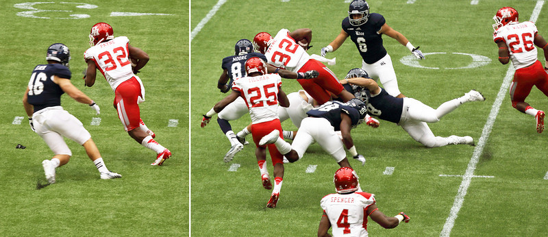 UH's Payne runs the ball and is tackled.