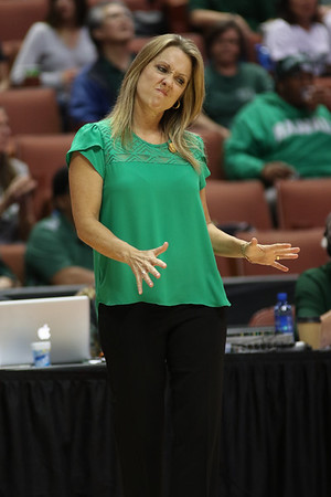 Hawaii head coach Laura Beeman reacts to a call during the championship game of the 2016 Big West Tournament at the Honda Center, Anaheim, CA on March 12, 2016.