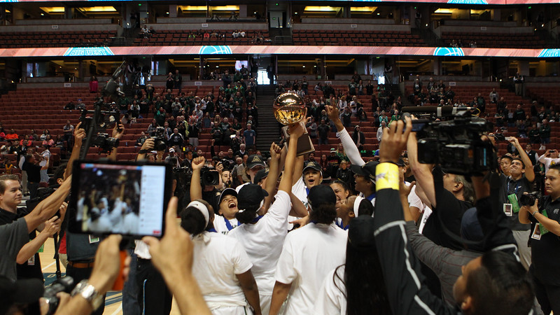 The UH Wahine basketball team defeats UC Davis, 78-59, and captures the championship of the 2016 Big West Tournament at the Honda Center, Anaheim, CA on March 12, 2016.