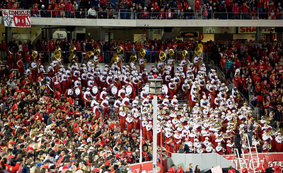 The UH band stirs up the crowd.